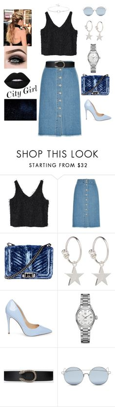"""Summer Night In The City"" by fvshionlove ❤ liked on Polyvore featuring MANGO, New Look, Rebecca Minkoff, Rachel Jackson, Steve Madden, TAG Heuer, Gucci, For Art's Sake, ASAP and Noir Jewelry"