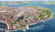 Constantinople =The capital of the eastern Roman empire; capital of the Byzantine and Ottoman empires, now called Istanbul Byzantine Architecture, Roman Architecture, Historical Architecture, Ancient Architecture, Architecture Office, Sustainable Architecture, Landscape Architecture, Ancient Rome, Ancient Greece