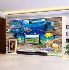 3D Sea World Dolphin Underwater View PVC Art Wall Stickers Home Decor Mural Decals Decoration + The Smilsing Face Decal Bathroom Toilet Seat Vinyl Removable Sticker Sitting Room Decoration D¨¦cor JuSeven http://www.amazon.co.uk/dp/B00ZTDRPQK/ref=cm_sw_r_pi_dp_6lINvb16NKKJB