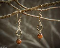Russian Aventurine Winter Cherry silver earrings by SilverPuha, $18.00