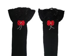 One Size Regular Black Decorated Lace Top by RomanticRevelation, $10.00