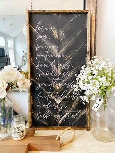 Black distressed fruit of the spirit sign handmade in Ohio Diy Farmhouse Table, Farmhouse Style Decorating, Chevron Signs, Stained Trim, Wooden Trim, Spirit Signs, Distressed Signs, Diy Wood Signs, Fruit Of The Spirit