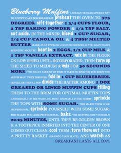 Recipe Art - blueberry muffins