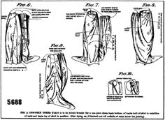 """Facsimile of the back of the """"Deltor"""" for Butterick pattern #5688 (a skirt for an evening dress), circa 1919"""