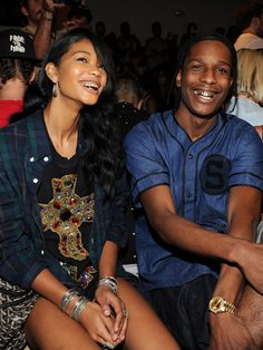 Model Chanel Iman and boyfriend ASAP Rocky sport their finest grills at the the Jeremy Scott fashion show during MADE Fashion Week Spring 20...