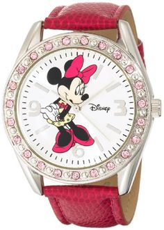 Disney Women's MN1010 Minnie Mouse Silver Sunray Dial Pink Lizard Watch   Your #1 Source for Watches and Accessories