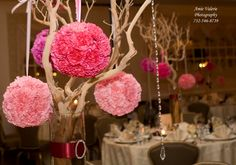 Wedding Trees Centerpieces With Flowers | centerpieces were Manzanita branches with hanging crystals and flowers ...