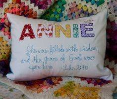 Personalized bible verse pillows. // I cannot WAIT to do this! Need to brush up on my embroidery.