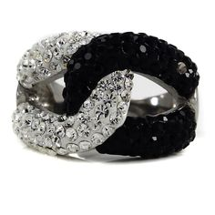 Steel by Design Stainless Steel Black & Clear Crystal Status Link Ring 10 201S #SteelbyDesign #Cocktail