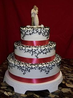 Black Scroll Work With Red Ribbon Wedding Cake By PM Frosted Fantasies PMCakes