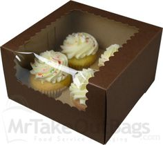 Perfect for family of 4! Try our 4-cupcake boxes in our chocolaty goodness color. Box fits mini and regular cupcakes.