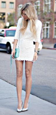 white lace dress & mint purse