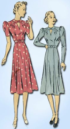 1930s Vintage Keyhole Afternoon Dress 1939 Du Barry Sewing Pattern Sz 34 B