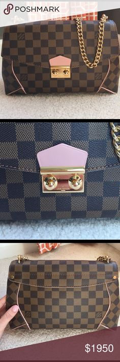 Louis Vuitton Caissa Excellent condition. Used twice. Authenticity code AR2126. Bag comes with certificate of authenticity. Rose ballerine lining with Damier print and gold chain strap. Strap drop is 21 inches. Comes with dustbag. Will only take orders paying via 🅿️🅿️ also selling on tradesy.com. Louis Vuitton Bags Crossbody Bags