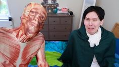 PHILS FACE THOUGH>> his face is one of pure terror. then again dan is dressed as something from the depths of hell sooo