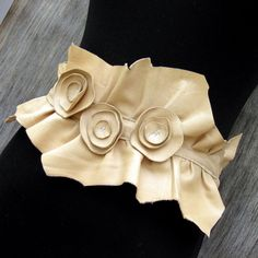 Beige Sheepskin Ruffle Belt with Leather Rosettes by Stacy Leigh Size Small Ready to Ship. via Etsy.