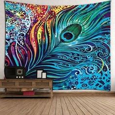 Peacock Feather Print Wall Tapestry - COLORFUL W59 INCH * L51 INCH
