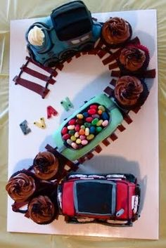 2-shaped train cake  @Liz Mester Mester Lowrie for the boys birthday this would be SO cute