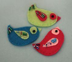 Birds Hair Clip Set Beaded Felt Accessory by Willowfolk on Etsy,
