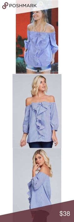 """Coming Soon! Off Shoulder Striped Bow Top • Elastic off shoulder striped top • Bow tie and cascading ruffle in front • 3/4 cuffed sleeves with button closure  • Model is 5` 10"""" 34B-24-34 and wearing a size small        •65% polyester 35% cotton Tops Blouses"""