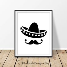 Sombrero hat print Mexico Digital print Mexican hat Mustache Cinco de Mayo El sombrero Mexican home decor New Mexico Cancun Wall art Poster by RedKoalaDesign on Etsy