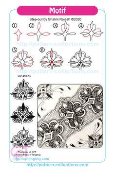 Zentangle Pens, Dibujos Zentangle Art, Zentangle Drawings, Doodles Zentangles, Zen Doodle Patterns, Doodle Designs, Mandala Pattern, Zentangle Patterns, Mehndi