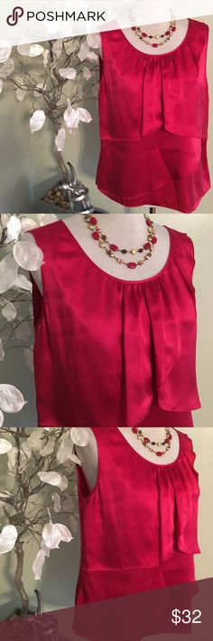 TALBOTS RED SILK TOP Elegant and classy top , 100% silk , new without tags Talbots Tops Blouses