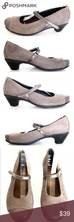 Naot Beige Leather Flare Cap Toe Mary Jane Heels