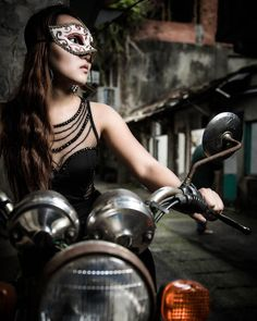 Ready to ride.  #portrait #female #Asian #Taipei #craigfergusonimages #Taiwan #motorbike  #mask #sexy #concept