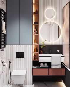 Modern Master Bathrooms design, style and idea inspiration for your needs when building a brand new house or remodeling your present home. Sleek lines, minimal home decor and flowing materials make modern master bathrooms a place of calm and serenity. Bathroom Design Small, Bathroom Interior Design, Modern Bathroom, Interior Decorating, Apartments Decorating, Decorating Bedrooms, Master Bathrooms, Decorating Ideas, Design Hall