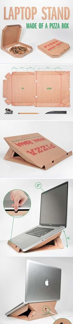 Una base de laptop hecha a partir de una caja de pizza