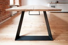 'Colt' - solid oak dining table with steel powder base extendable if needed! Solid Oak Dining Table, Steel Dining Table, Dining Table Legs, Concrete Table, Wood Table, Mesa Metal, Esstisch Design, Industrial Table, Furniture