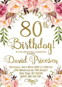 Birthday Invitation for women Birthday Invitation birthday Floral Party Invitation Womens Birthday Birthday Party Invitations Free, 90th Birthday Parties, Card Birthday, Birthday Quotes, Birthday Ideas, Birthday Gifts, Rustic Birthday, Boho Baby Shower, Birthday Woman