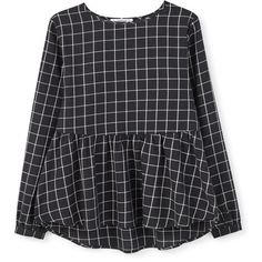 MANGO MANGO Check Pattern Peplum Blouse (£35) ❤ liked on Polyvore featuring tops, blouses, shirts, blusas, checked shirt, checkered long sleeve shirt, mango shirt, cotton blouse and peplum blouse