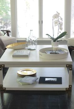 White Coffee Table with Gold Campaign Details on by CrispInteriors, $400.00