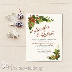 Wedding Invitations Online Classic Mistletoe Christmas Holiday Wedding Invites IWI341 -