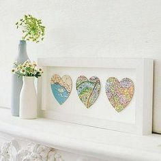 DIY Home Decor Wall Art: DIY Ombre Heart Maps His and hers birth place and in middle where they met..