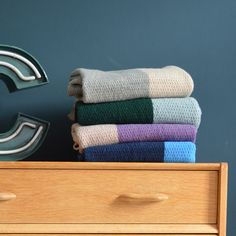 Merino knitted wool block colour blankets by Camomile.london
