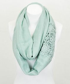 Mint Crocheted Lace Insert Infinity Scarf | Daily deals for moms, babies and kids