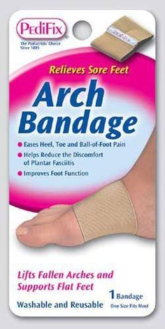 Pedifix Arch Bandage (Pack of 2) by Pedifix. $10.55. Arch Bandage supports fallen arches and flat feet and eases related toe, ball-of-foot and heel pain. It is helpful for bunions, neuromas, plantar fasciitis, and heel spurs. This soft, elastic bandage gently squeezes the arch to provide support and extra stability to sore and tired feet. Makes shoes more comfortable. Washable, reusable and effective for months.
