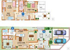 B(M)プラン Dream House Plans, House Floor Plans, Floor Plants, Japanese House, House Layouts, House Design, Flooring, How To Plan, Architecture