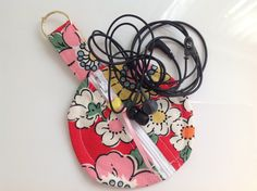Cath Kidston at IKEA Floral Fabric Circular Zippered Earbud Pouch - Handmade in Scotland by sewmoira on Etsy