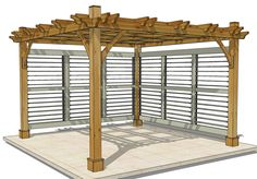 Idea for the walls if we get a pergola from Costco.Outdoor Living Today - 12 x 12 Breeze Pergola with 2 Louvered Wall Panels - Default Title - Outdoor Living - Yard Outlet Pergola Canopy, Outdoor Pergola, Outdoor Rooms, Backyard Patio, Backyard Landscaping, Outdoor Gardens, Gazebo, Outdoor Living, Pergola Ideas