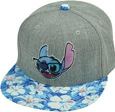 Lilo Stitch Hawaiian Floral Print Glasses Flat Bill Snapback Movie Hat Cap Grey