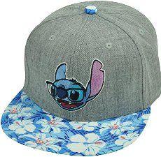 Lilo Stitch Hawaiian Floral Print Glasses Flat Bill Snapback Movie Hat Cap Grey