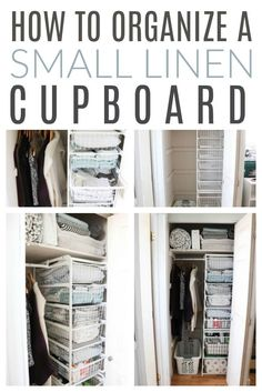 and tricks for organizing small spaces: how to use the IKEA Algot system for your small . Tips and tricks for organizing small spaces: how to use the IKEA Algot system for your small linen closet,Tips a. Best Closet Systems, Diy Closet System, Closet Ideas, Linen Cupboard, Cupboard Storage, Cleaning Cupboard Organisation, Laundry Cupboard, Hall Cupboard, Kitchen Storage