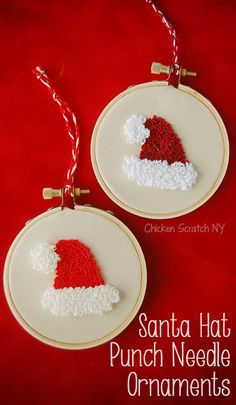 Make adorable Santa Hat Punch Needle Ornaments with this free printable pattern utilizing 2 loop lengths for texture