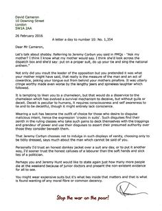 A letter a day to number 10. No 1,354  Friday 26 February 2016. David Cameron, lacking any moral fibre or common decency.