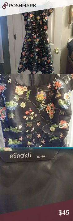Gorgeous floral Eshakti dress Black dress with colorful floral design. Zipper in back. No stretch. eshakti Dresses Midi