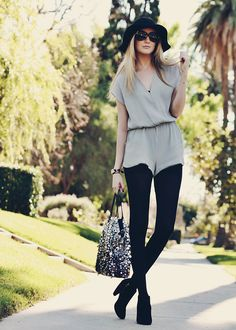 Cute for fall! romper, opaque tights, booties